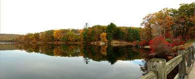 Fall panorama. Fall panoramic view of lake in harriman state park, ny state Stock Images