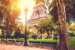 Fall in Paris. Eiffel tower in Paris, sunny fall autumn season Stock Image