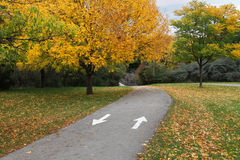 Fall Park Path. Biking/walking path in auttumn at G RossPark, Toronto, Ontario Stock Photography