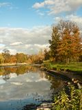 Fall park with pond Royalty Free Stock Photography