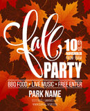 Fall Party. Template for Autumn poster, banner, flyer. Vector illustration. Vector illustration. EPS10 Stock Images