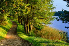 Fall path by lake stock photography