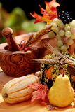 Fall pears and pumpkins. Still life with fall pears and pumpkins Stock Photography