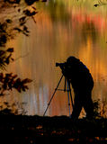 Fall Photgraphy. A photographer out capturing the fall colors royalty free stock photo