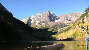 Fall Photography at Maroon Bells stock video footage