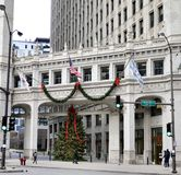 Wrigley Building Christmas Tree. This is a Fall picture of a Christmas Tree between the two towers of the iconic Wrigley Building On Michigan Avenue located in stock image