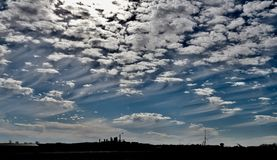 Cirrus Uncinus Clouds. This is a Fall picture of Cirrus Unicus Clouds, also known as Mare's Tails Tails over Sangamon County, Illinois. Cirrus royalty free stock images