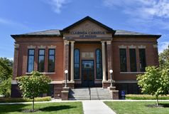 Clarinda Carnegie Library. This is a Fall picture of the Clarinda Carnegie Library located in Clarinda, Iowa in Page County.  This library's construction was Stock Image