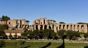 Palatine Hill. This is a Fall picture of histoeic ruins of Palatine Hill, the centremost of the Seven Hills of Rome and the most ancient part of the city Royalty Free Stock Photography