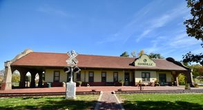 Boonville Train Station. This is a Fall picture of the historic Bonnville Train Station located in Boonville, Missouri in Cooper County. This train station is a royalty free stock photo