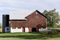 Sommerville Barn. This is a Fall picture of the historic Somerville Barn located in Mason, Iowa in Ingham County.  This raised barn is an animal facility built Royalty Free Stock Photography