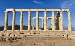 Southside of the Temple of Poseidon. This is a Fall picture of the iconic ruins of the Temple of Poseidon perched high above the southernmost tip of the Attica Stock Image