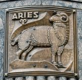 Aries. This is a Fall picture of a piece of public art titled: Aries, on exhibit on the exterior walls of the iconic Adler Planetarium located in Chicago royalty free stock photos