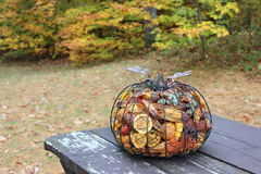 Fall potpourri in a metal pumpkin Stock Photography