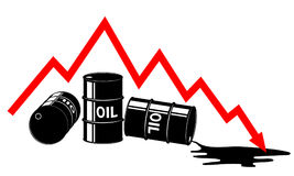 The fall in the price of oil. Graph and barrels. The cost decreases. The crisis of the economy. Stock Photography