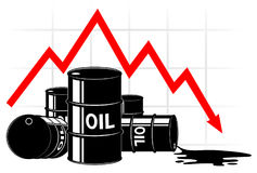 The fall in the price of oil. Graph and barrels. The cost decreases. The crisis of the economy. Black and red Royalty Free Stock Images