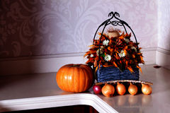Fall pumpkin decoration kitchen Stock Image