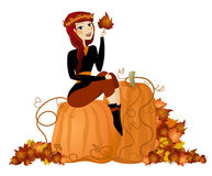 Fall Pumpkin Diva. Illustration of a fall background with pumpkins with a woman sitting on top royalty free illustration