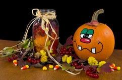 Fall pumpkin with mason jar Stock Photo