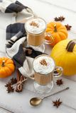 Fall pumpkin spice latte with whipped cream on white wooden background. Fall pumpkin spice latte with whipped cream and cinnamon, ornamental pumpkins and warm Royalty Free Stock Image