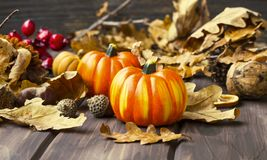 Fall pumpkins decorations Royalty Free Stock Images