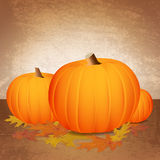 Fall Pumpkins and Leaves. Fall pumpkins and changing leaves against a grunge background. Vector EPS 10 available. EPS file contains transparencies and gradient vector illustration