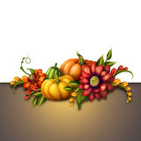 Fall pumpkins with seasonal flowers, autumn background Royalty Free Stock Photography