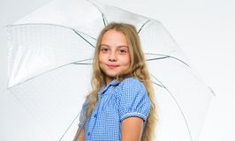 Fall rainy pleasant weather. Girl child ready meet fall weather with umbrella. Enjoy rainy days with umbrella accessory. Best fall accessory concept. Stay royalty free stock photography