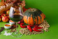 Fall red wine with onion and pepper Stock Photography