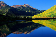 Fall reflection in Colorado. Fall reflection of mountains and aspen trees in Southwest Colorado near Ouray Stock Images