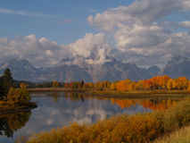Fall Reflection and Grand Tetons Stock Photos