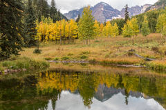 Fall Reflection at Maroon Bells Stock Images