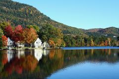 Fall Reflections. Fall foliage colors reflected in a Vermont lake royalty free stock photography