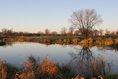 Fall Reflections. A Minnesota lake reflets the beauty of this golf course Stock Images