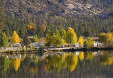 Fall Reflections. Camping by mountain lake in early fall Stock Images