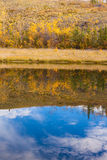 Fall reflections on water surface Stock Photo