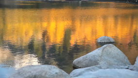 Fall-Reflexion auf See stock footage