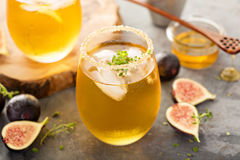 Fall refreshing cocktail with fig, honey and thyme Royalty Free Stock Photography