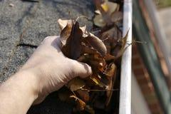 Fall-Reinigung - Blätter in der Gosse lizenzfreies stockbild