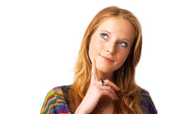 Fall Into Reverie. Portrait of a beautiful, red-haired model, looking away,dreaming Stock Photo