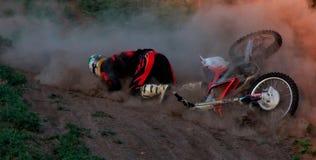 Fall of rider motocross Royalty Free Stock Photography