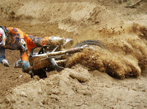 Fall of rider motocross. In track Stock Image