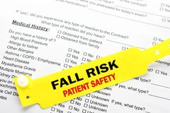Fall Risk Patient Safety With Hospital  Paperwork Royalty Free Stock Images