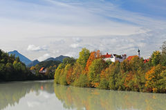 Fall at river Lech Stock Photos