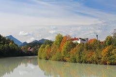 Fall at river Lech Stock Photos