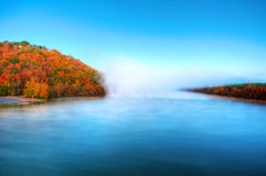 Fall River Mist. Warm waters of the Arkansas river gives up its summer heat on a frosty fall morning Royalty Free Stock Photography