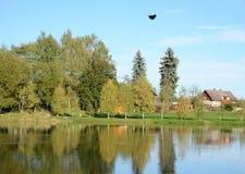 The fall - Romantic village near the lake Royalty Free Stock Photos