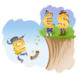 The fall of the ruble. Illustration symbol of the ruble, dollar and euro Royalty Free Stock Photos