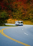 Fall Rving. Motor Home traveling through the north GA Mountains Stock Photos