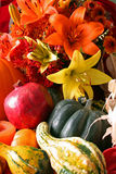 Fall's Harvest. Fruits, vegetables, flowers and gourds native to Fall royalty free stock images
